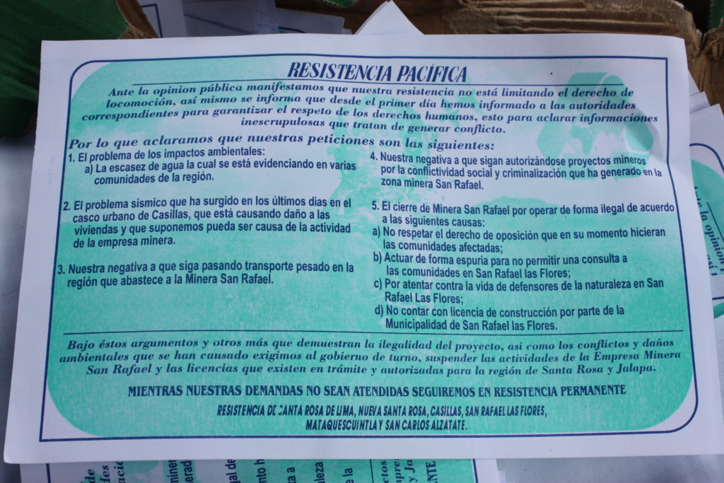 A flyer describes the reasons for the encampment and a series of demands. For the translation, click here.