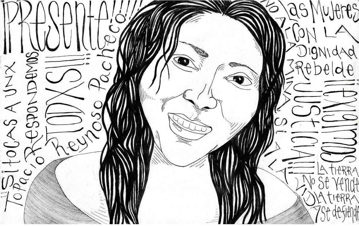 black and white drawing of Topacio Reynoso Pacheo, with long straight hair, smiling showing her teeth.
