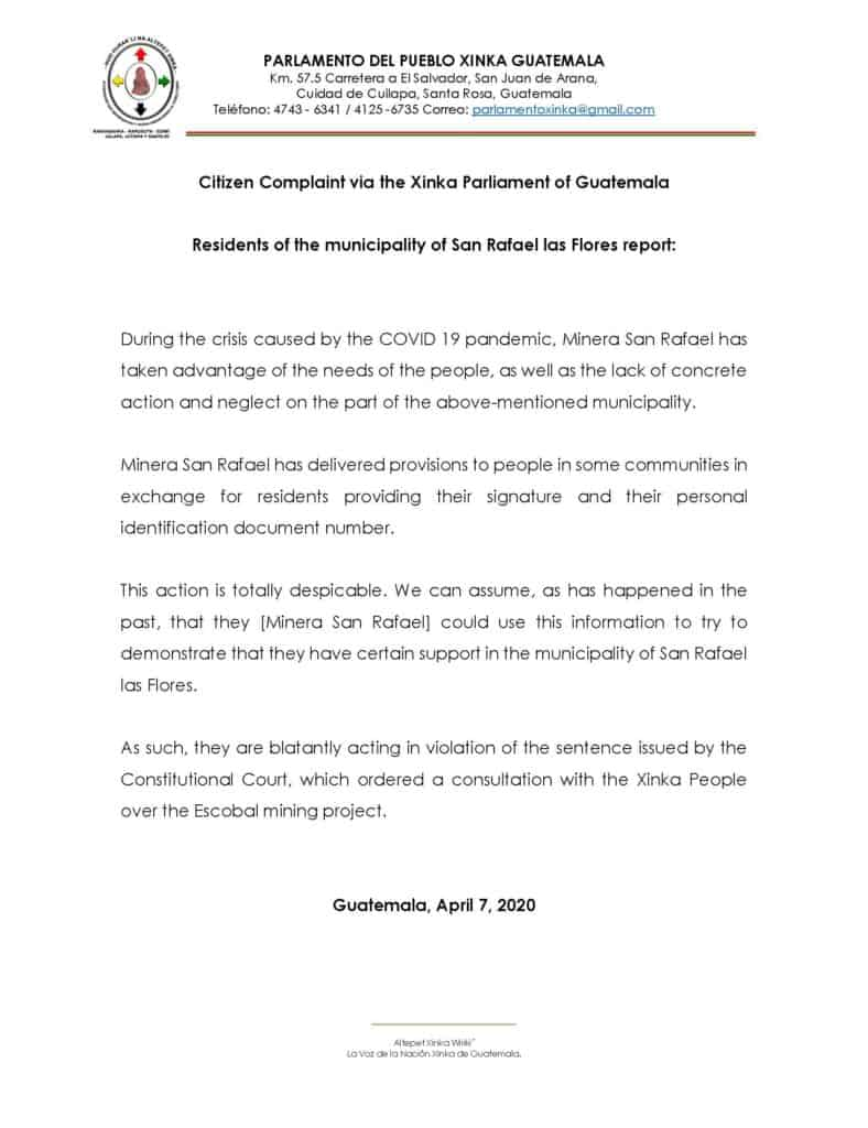 PDF of a statement by the Xinka Parliament translated to English.