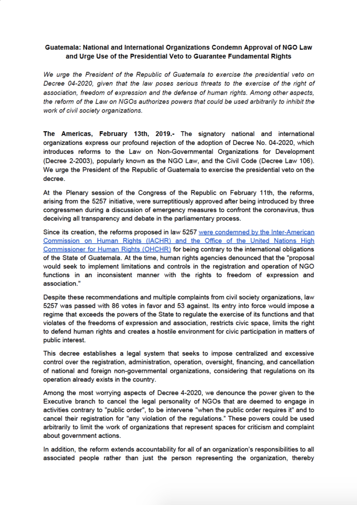 Screen shot of the pubic statement regarding the NGO Law in Guatemala.