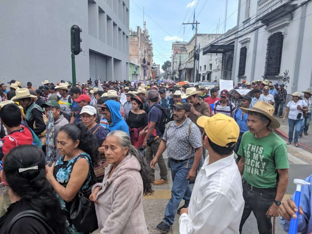 Nearly 1500 people walk through the streets of Guatemala City to denounce the illegal and discriminatory consultation process.