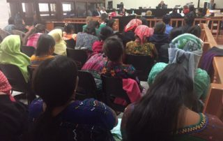 Maya Achi sexual violence survivors present in a trial date during the intermediate phase of their case. Photo Credit: Verdad Justicia