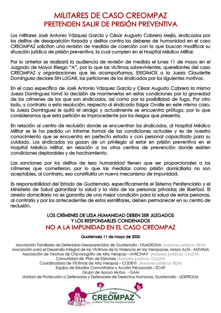 Written statement from the plaintiffs of the CREOMPAZ case