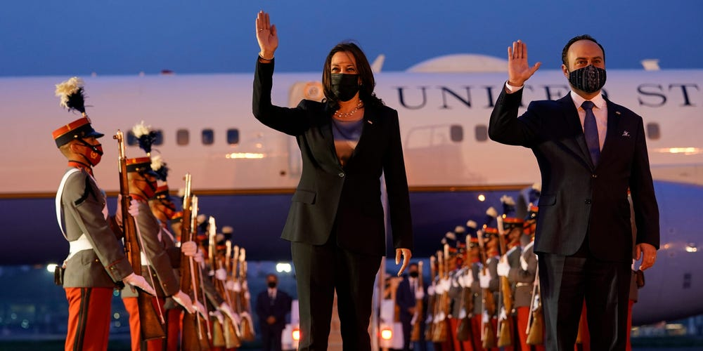 Harris and Guatemala's minister of foreign affairs, Pedro Brolo, at her arrival ceremony in Guatemala City on June 6 at Guatemalan Air Force Central Command. AP Photo/Jacquelyn Martin