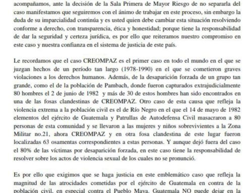 CREOMPAZ case plaintiffs send an open letter to Judge Claudette Dominguez