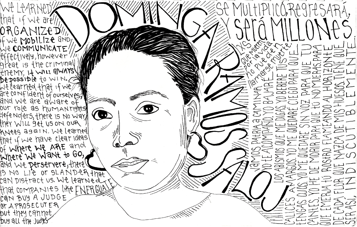 Black and white drawing of Dominga Ramos Saloj, with short hair and heart -hoop earrings.