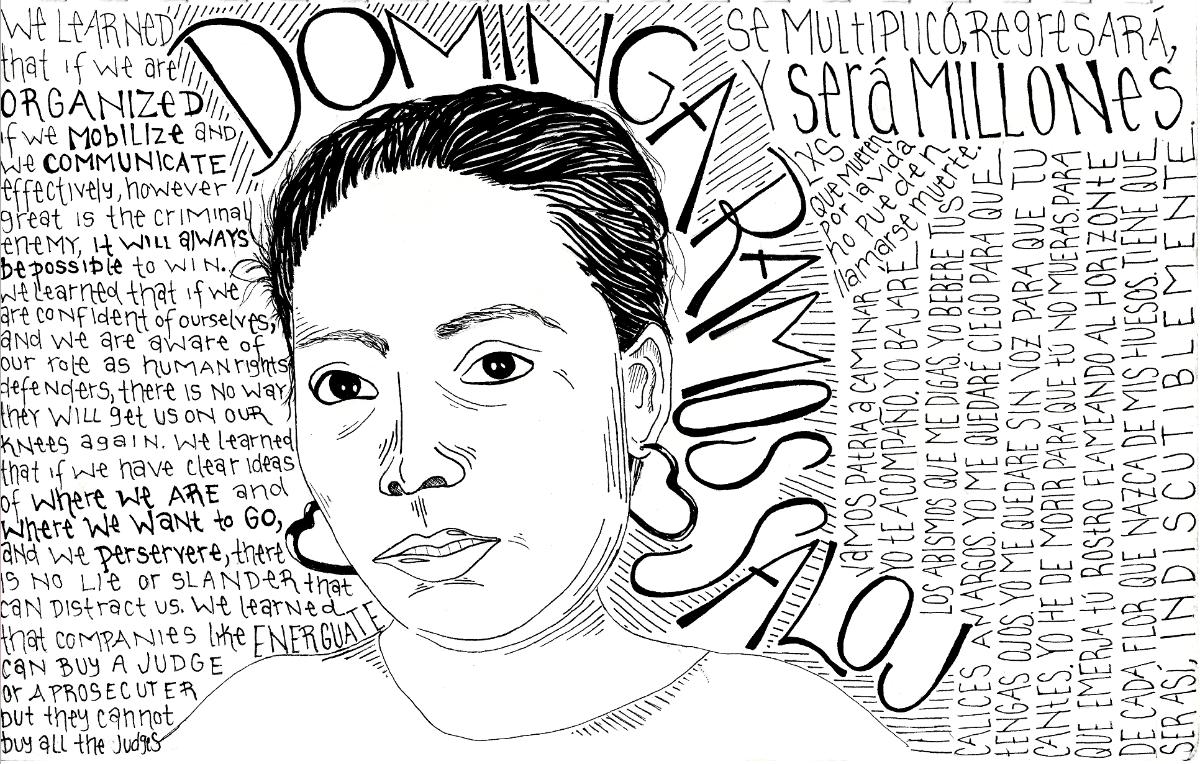 Black and white drawing of Dominga Ramos Saloj, with short hair and heart -hoop earrings.