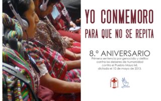 Flyer for the genocide sentence, contains in the left a picture of two ixil women wearing headphones as they listen the ixil -spanish translation in a court room
