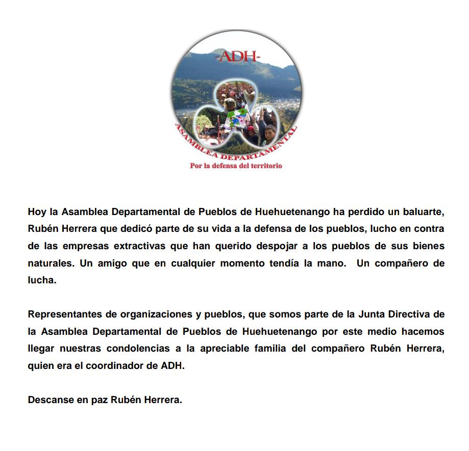 Un screenshot del comunicado por la ADH sobre el fallecimiento de Rubén.