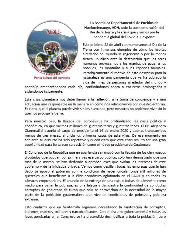 Primera pagina del comunicado de la ADH