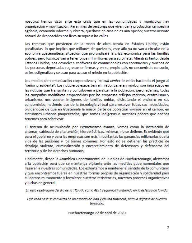 Segunda pagina del comunicado de la ADH