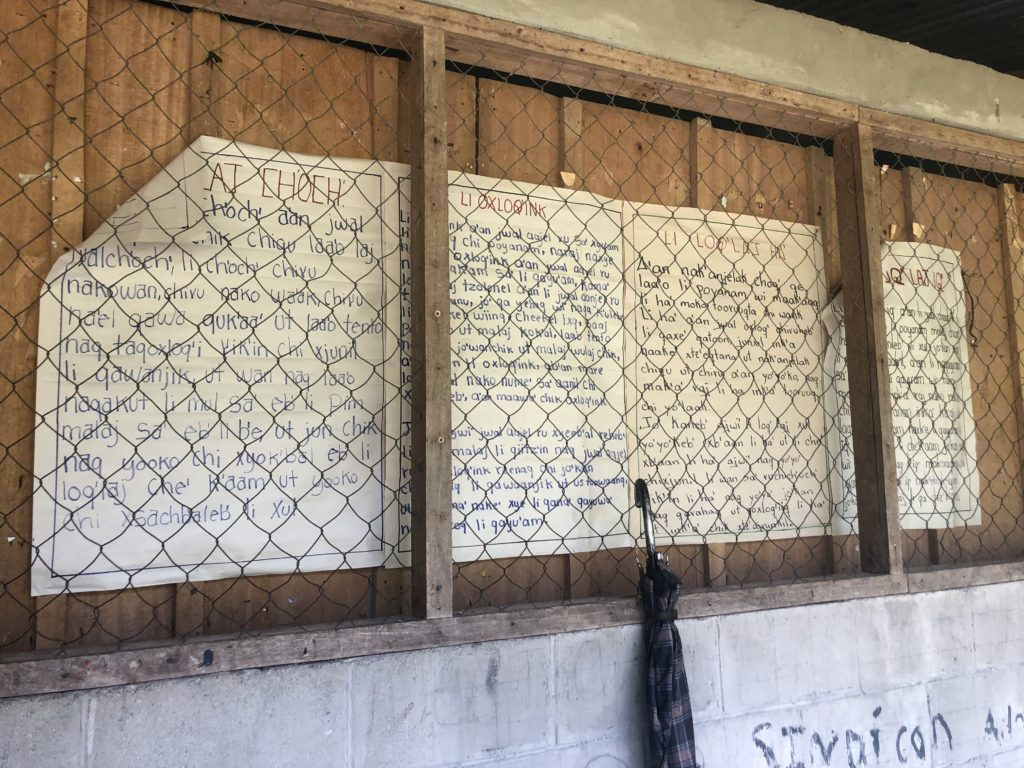 Signs in Mayan languages hang in the school in Copal AA. Photo Credit: Anna Benally
