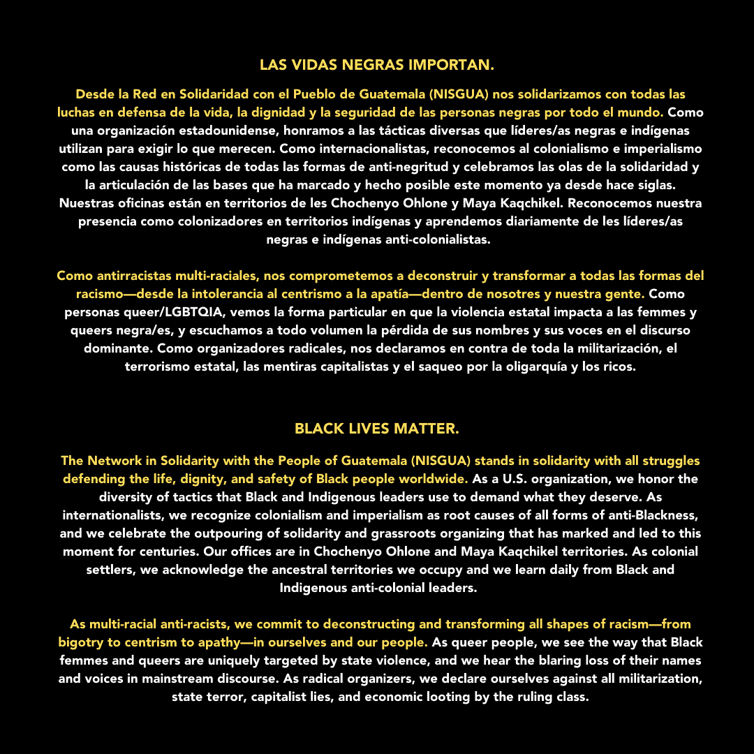 Graphic with NISGUA's statement on Black Lives Matter.