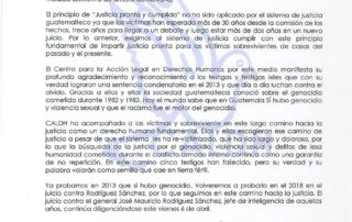 Photo depicts the original statement in Spanish by the Center for Human Rights Legal Action (CALDH).
