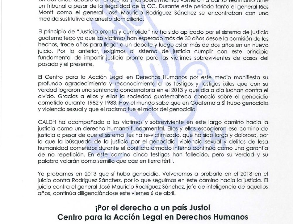Statement by CALDH on the death of Ríos Montt