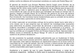 Comunicado de CALDH frente a la Captura del ex-general Luis Enrique Mendoza, acusado por genocidio.