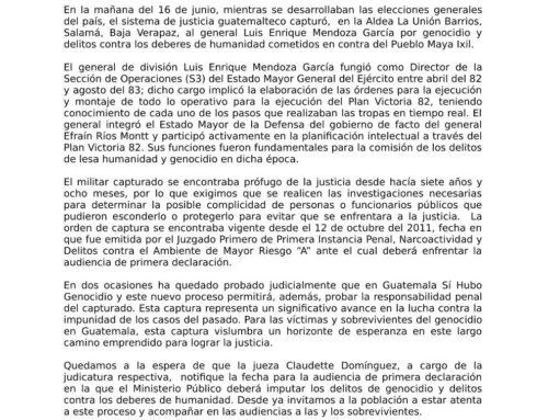 Comunicado de CALDH frente a Captura del Prófugo Gen. Luis Enrique Mendoza, Acusado de Genocidio