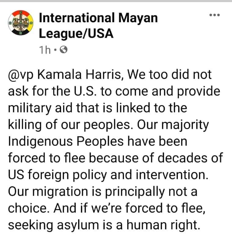 Statement from the Mayan League in response to VP Harris' comments