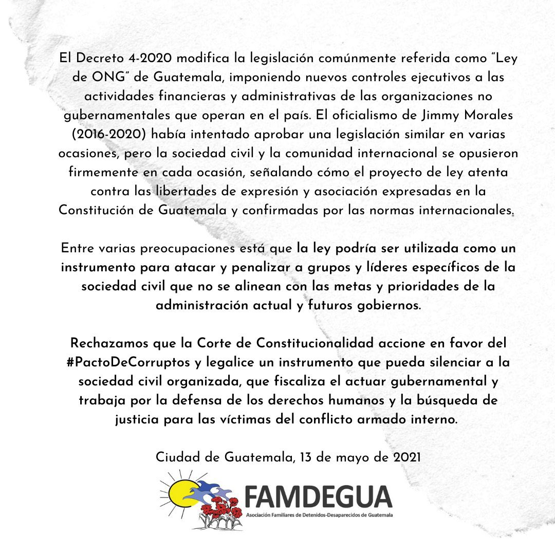 Flyer of a statement against the so- called NGO law. In the center of the image below, there is famdegua logo, a sun with 2 blue birds and several red flowers in the ground