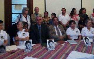 The Molina Theissen Family speaks at a press conference in Guatemala City.