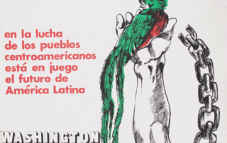 Flyer commemorating the first national conference of solidarity with the people of Guatemala. Text reads: En la lucha de los pueblos centroamericanos está en juego el futuro de América Latina. Washington DC Aug. 2-3 1980. A draw of a quetzal, the national bird of Guatemala laying on a hand who barely liberate from its chains.