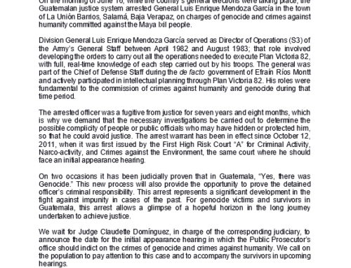 CALDH Statement on Arrest of Fugitive Gen. Luis Enrique Mendoza, Accused of Genocide