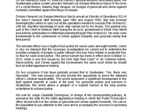 CALDH Statement on Arrest of Fugitive Gen. Luis Enrique Mendoza, Accused of Genocide