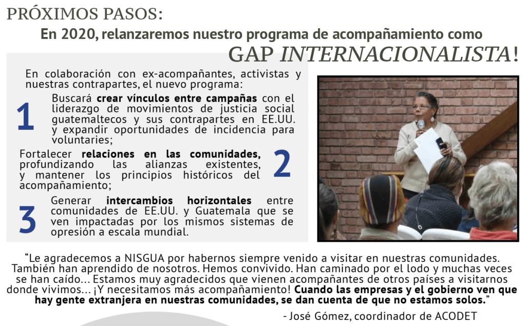 Un gráfico digital que explica el plan para GAP Internacionalista.