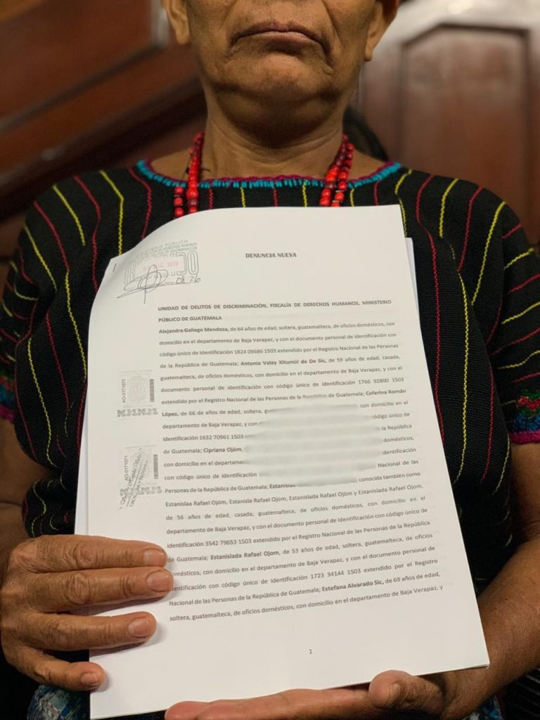 Maya Achi survivors of sexual violence presented a complaint against Judge Dominguez for discrimination and racism at the Guatemalan Attorney General's Office. Photo credit: Impunity Watch