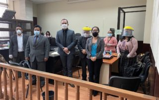 six lawyers, 3 women and 3 men, stand after the court hearing on the creompaz case, all of them are wearing protective masks due to COVID 19