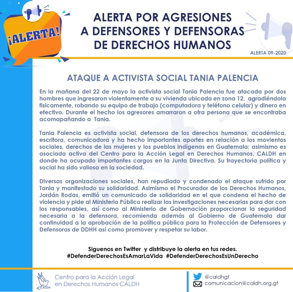 Flyer of the CALDH alert against human rights defenders