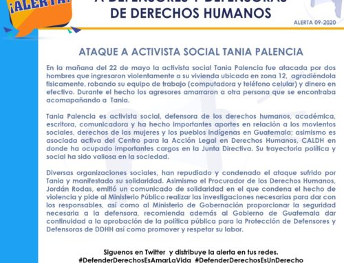 Alert for aggressions against human rights defender Tania Palencia