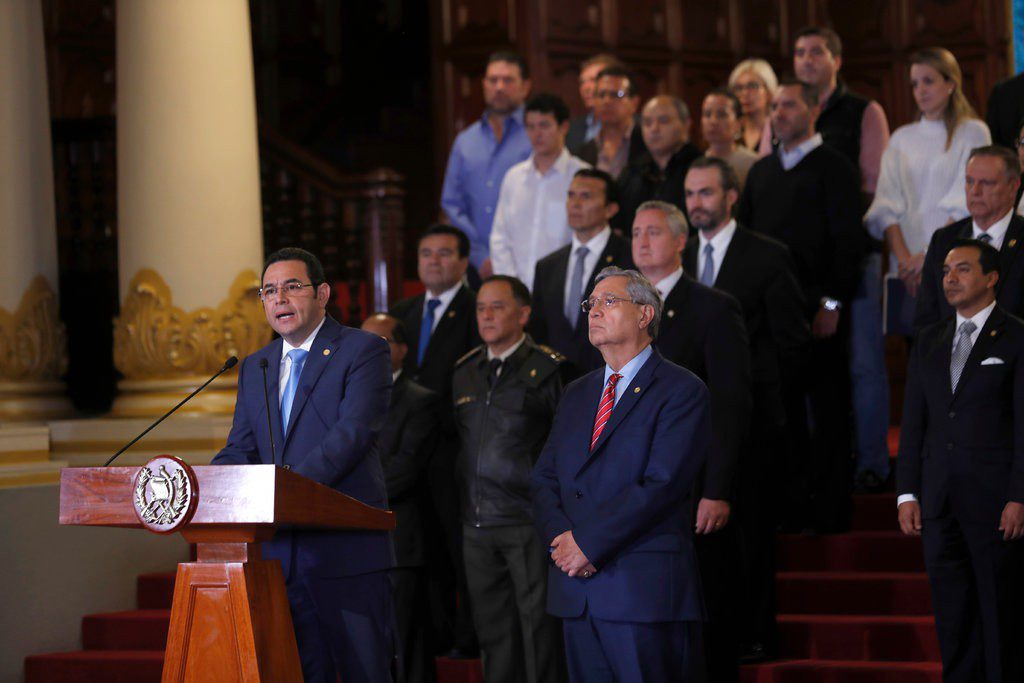 Jimmy Morales holds a press conference to announce unilateral cancellation of CICIG agreement.