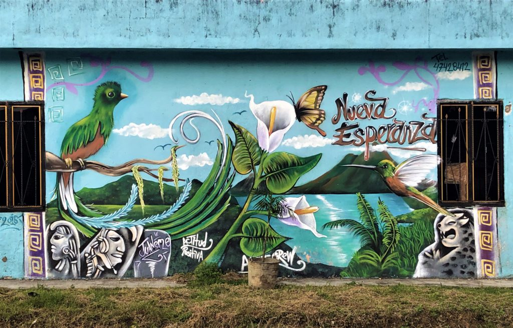 Colorful mural: painted image with a green bird, white calalily, and butterfly in front of image of lake and volcano. Reads: Nueva Esperanza.