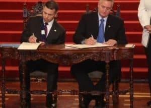 DHS Interim Secretary McAleenan, Guatemalan Interior Minister Degenhart Sign Memorandum of Cooperation to Militarize Guatemalan border with Mexico, Photo Credit: Prensa Libre