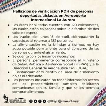 Hallazgos de verificacion PDH de personas deportadas aisladas en el Aeropuerto Internacional La Aurora