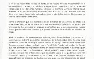 Black and white statement from La Coordinadora Genocidio Nunca Más