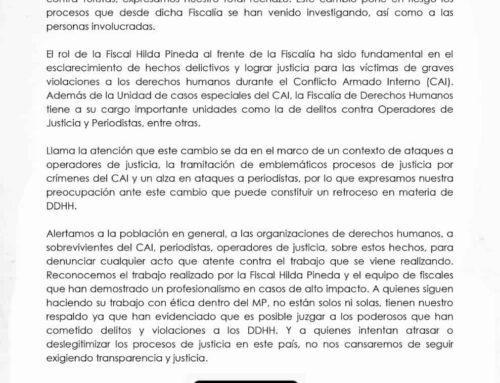 Statement: We reject the transfer of Prosecutor Hilda Pineda