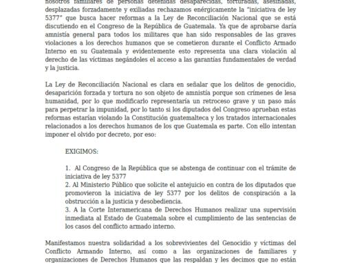 Sobrevivientes del Terrorismo del Estado, Organizaciones Rechazan Amnistía en Guatemala