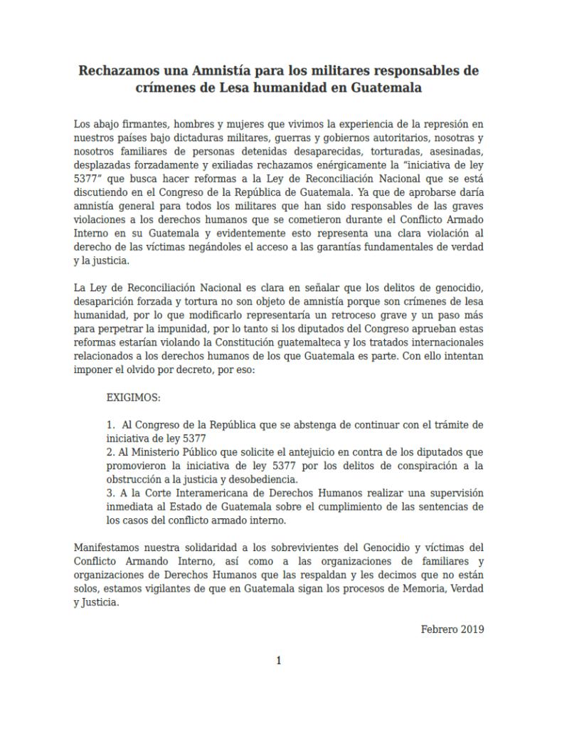 Carta de Rechazo a la Amnistía