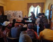 Rubén Herrera, General Coordinator of the ADH, present the Petition of Zacaleu to representatives of the Governor of Huehuetenango on July 11, 2019.