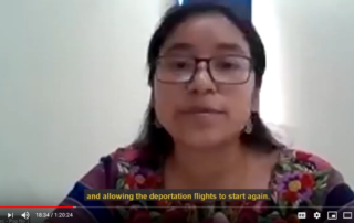 Screenshot of a Maya woman speaking on video with subtitles below her.