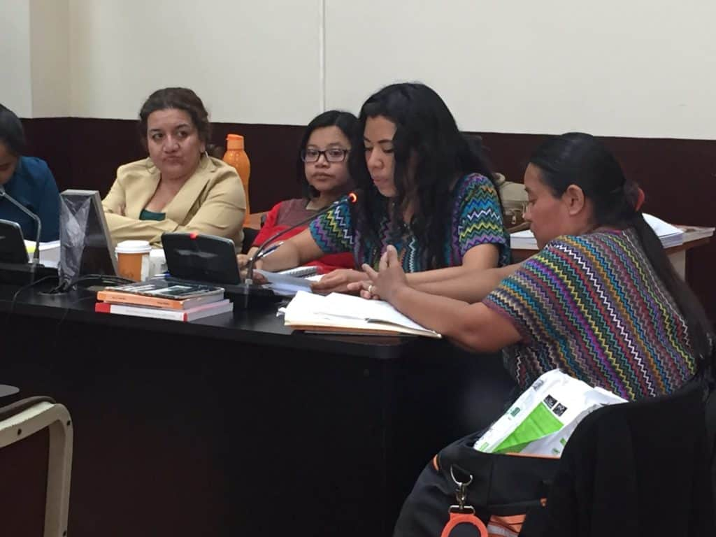Attorney Valey, representing four survivors, shares her opening arguments at the trial on April 23. Photo credit: Verdad y Justicia Guatemala