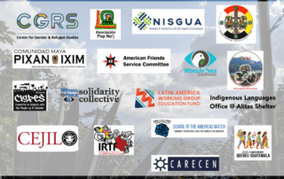 Graphic featuring 17 logos of organizations: PAQG, AFSC, Asociación Pop No'j, Witness for Peace, CARECEN-LA, LAWG, CGRS, IRTF, CEJIL, ADH, Pixan Ixim, IML, SOAW, CISPES, Indigenous Languages Office @ Alitas Shelter, and NISGUA.