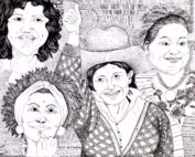 Berta Caceres, Marielle Franco, Rigoberta Menchu and Maxima Acuña are depicted in a black and white drawing with political words as a background