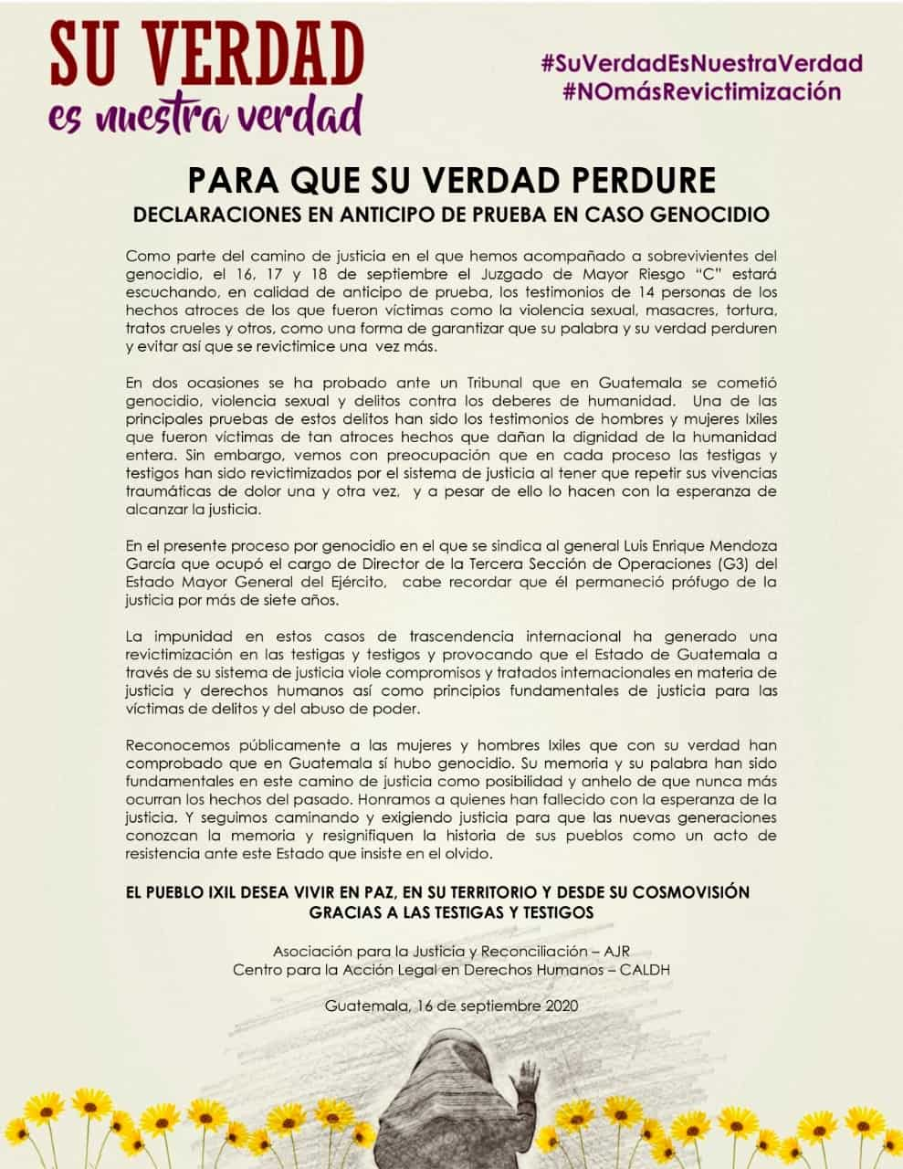 Flyer of a statement. Below there is a picture of an ixil woman giving her testimony surrounded by yellow flowers