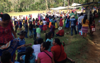 The Maya Ch'orti' community gathered to celebrate the liberation of the political prisoners and welcome them back to Corozal Arriba on February 06, 2019. Photo credit: Rosemary Giron