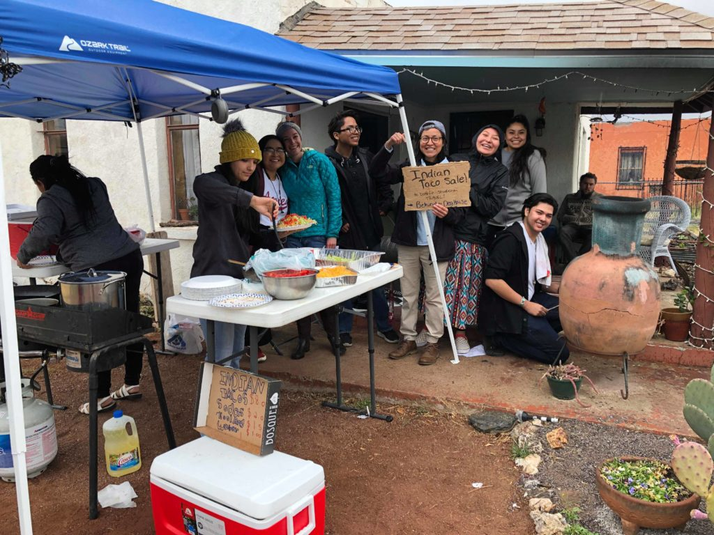 The delegates sell Navajo Tacos to fundraise for their trip expenses. Photo credit: Chantelle John