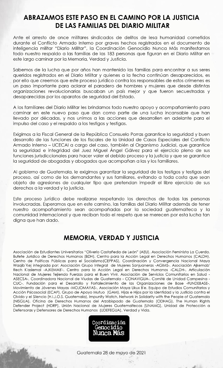 Fyler of a statement in black and white. Below there is the logo of genocide never again coalition and signatures of different guatemalan and international organizations