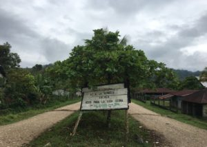 """A sign in Copal AA reads: """"Warning! No to the Xalalá Dam. Rivers for dignified life. Without electricity there is life, but without water there is not."""""""
